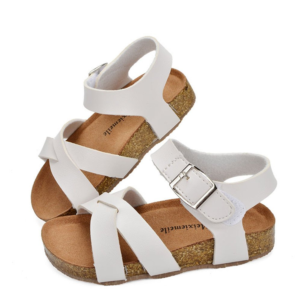 Girls Sandals Shoes For Children PU Leather Beach School Shoes Roman Sandals white 11