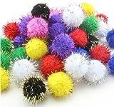 TECH-P Arts Craft Pom Poms Glitter Poms Sparkle Balls Party Decorations- Assorted Color (20mm- 250 Pack)