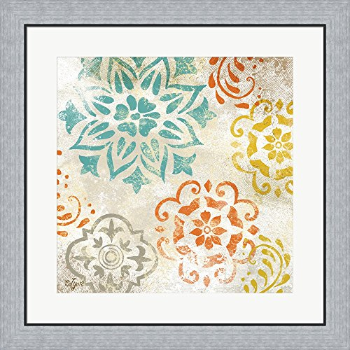 Colorful Medallions I by Rebecca Lyon Framed Art Print Wall Picture, Flat Silver Frame, 26 x 26 (Lyon Framed)