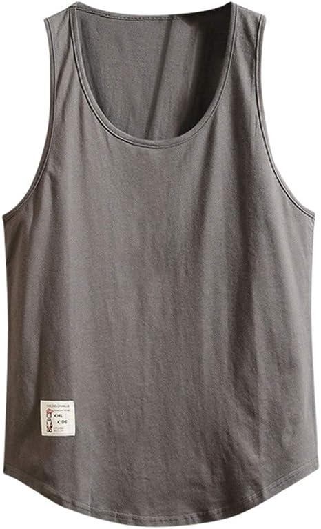 Camiseta sin Mangas para Hombre Mezcla de algodón Sleeveless Shirt Deportivos Fitness Moda Color Sólido Camisetas de Tirantes Chaleco de Verano Tops MMUJERY: Amazon.es: Ropa y accesorios