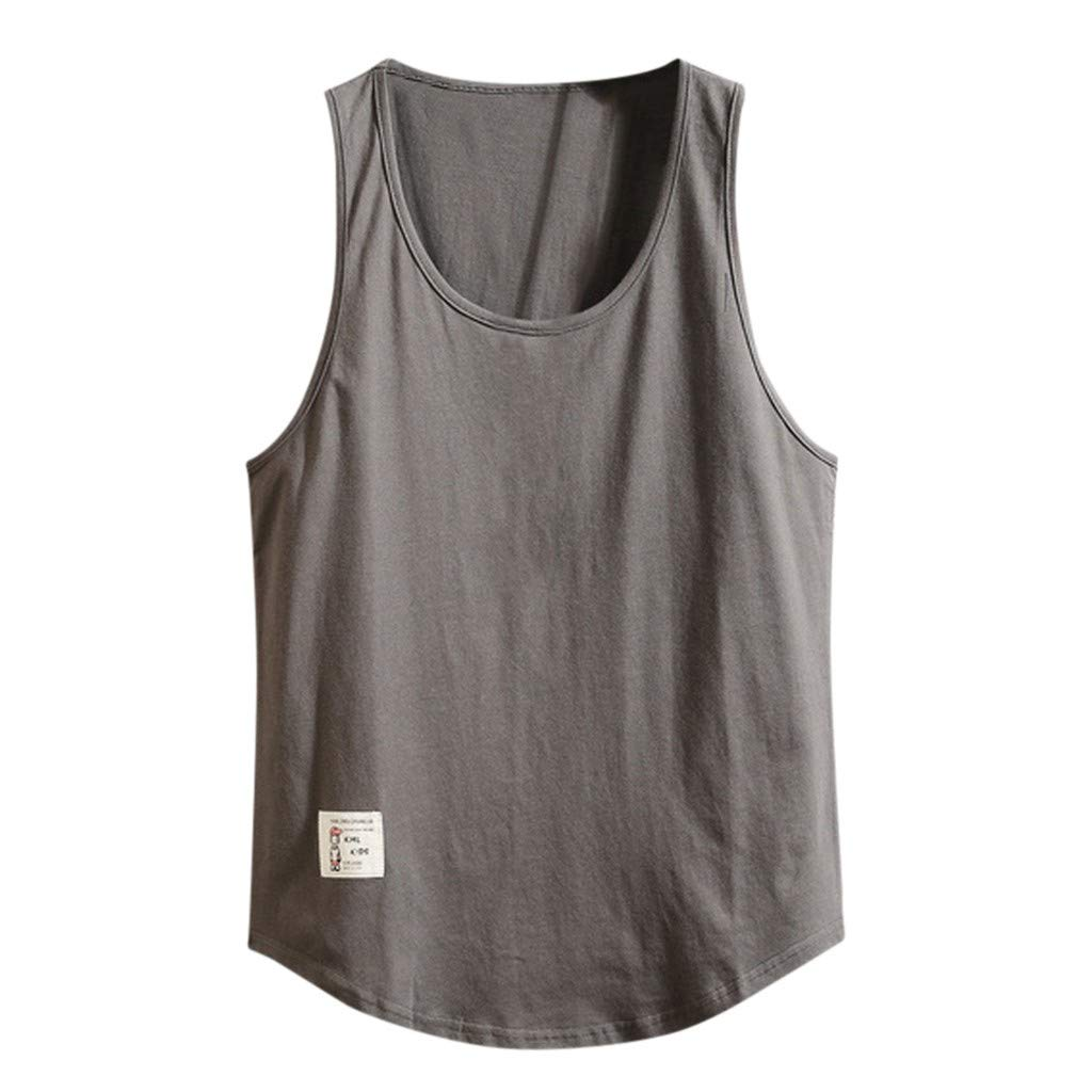 Swyss Mens Cotton Tank Top Solid Basic Sleeveless Fitness Loose Tops T-Shirts