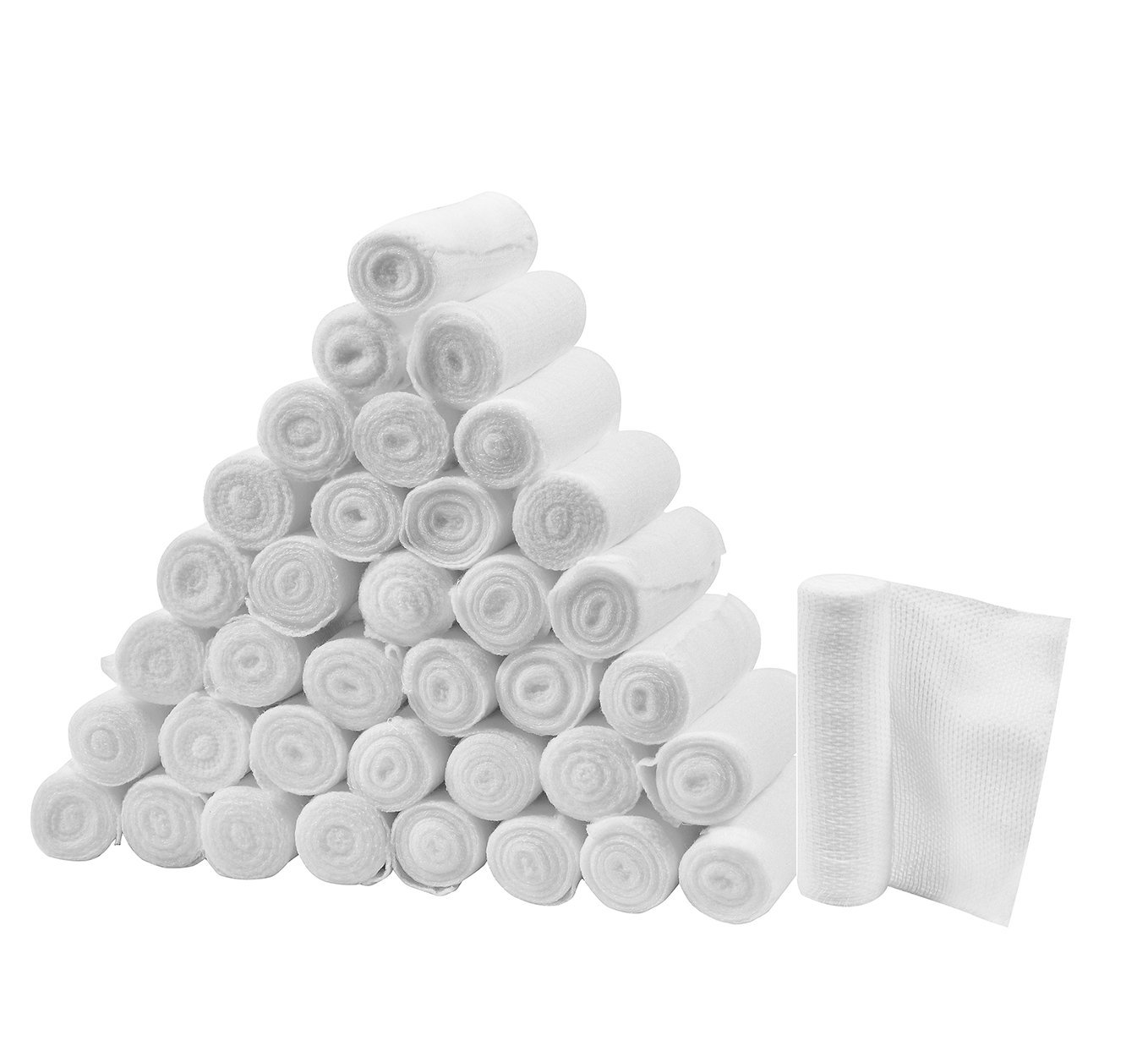 FlexTrek Premium 36-Pack 4 Inch Conforming Stretch Gauze Bandage Rolls - Latex Free - 4'' x 4.1 Yards Stretched