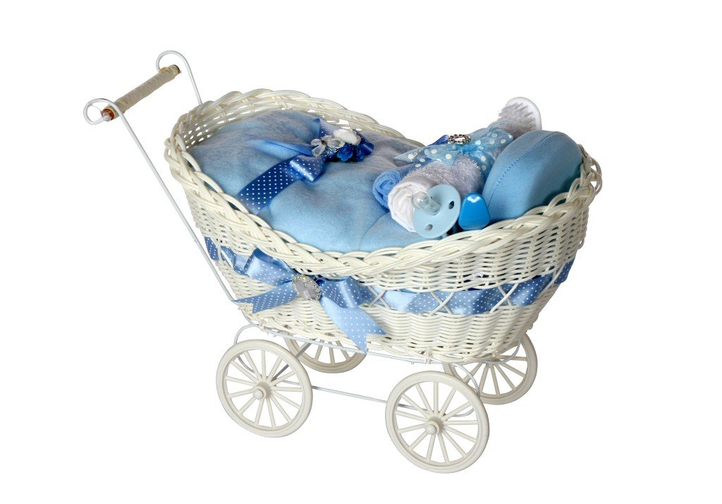 Cherish Luxury Baby Gift / DELUXE Baby Gift Hamper/ Blue Pram Hamper / Baby Hamper / Baby Shower Hamper / New Arrival Gift / New Baby Gift / Newborn Gift / Baby Boy Gift / FAST DISPATCH Pitter Patter Baby Gifts