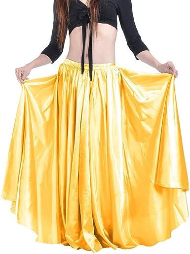 Kunfang Falda de Baile Flamenco para Mujer de la Cintura Elástica ...