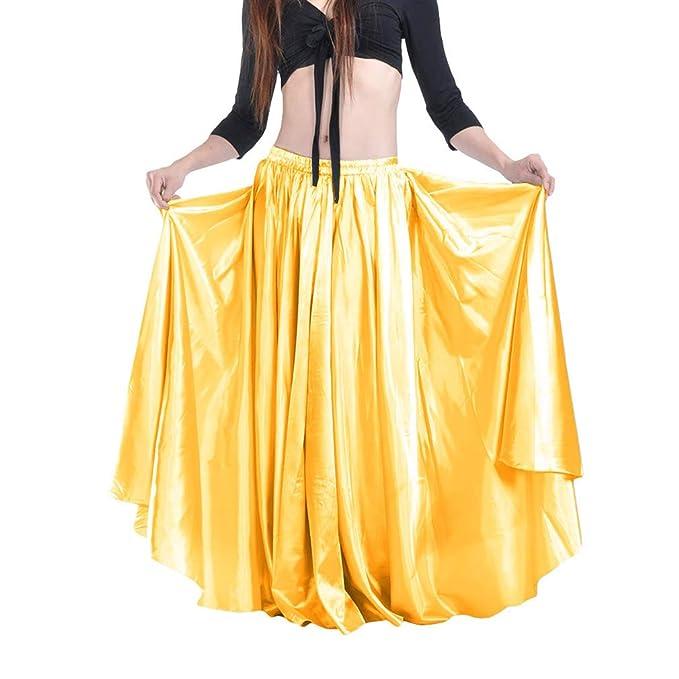a497653e7 Kunfang Falda de Baile Flamenco para Mujer de la Cintura Elástica ...