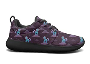 VXCVF Little Cartoon Blue Unicorn Standing on The Clouds Womens Black Basketball Sneakers Shock Absorption Athletic