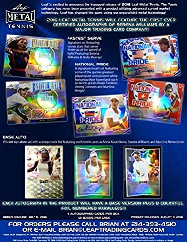 Amazon.com: 2016 Leaf Metal Tennis Trading Cards Hobby Box (5 autograph Cards): Collectibles & Fine Art