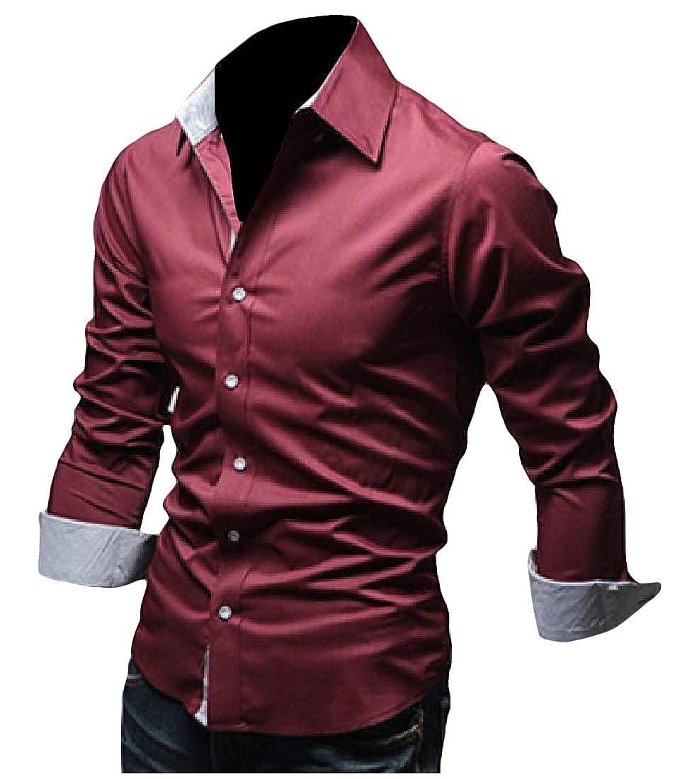 Godeyes Mens Fashion Turn Down Collar Contrast Color Long-Sleeve Cardigan Western Shirt