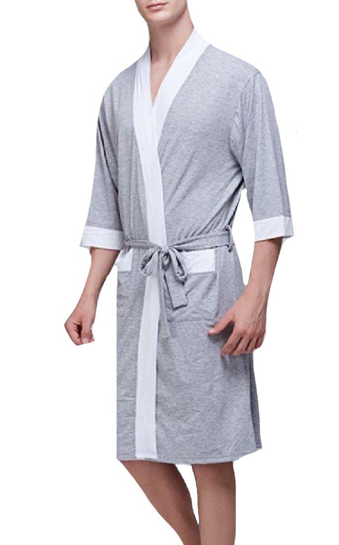 YUSKYMen Loungewear Wrap-Front Luxurious Fine Cotton Terry Robe White XL