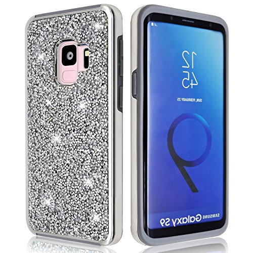 Samsung Galaxy S9 Glitter Shiny Bling Sequin Sparkle Diamond Hybrid Rubber Hard Crystal Heavy Duty Protective Phone Case Cover For Samsung Galaxy S9 (Silver, Samsung Galaxy (Crystal Cell Phone Accessory Case)