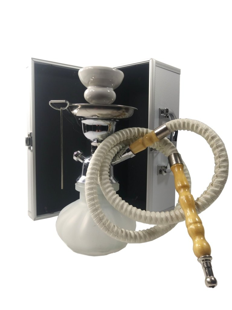Trifecta white baby hookah, 9'' tall.1 hose with carrying suitcase