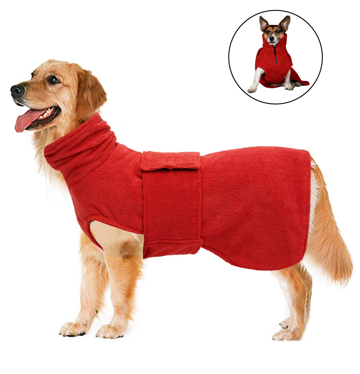 Geyecete Dog Bathrobe Soft Super Absorbent Luxuriously Microfiber Dog Drying Towel Robe,Pet Dog Cat Bath Robe Towel