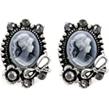 Grey Ribbon Cameo Stud Earrings Post Fashion Jewelry