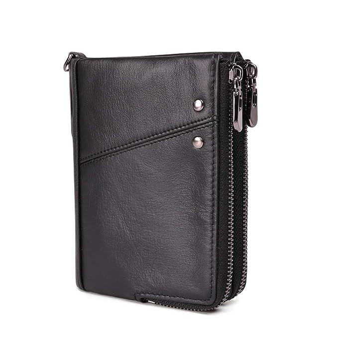 bf639116a144 Mens Short Wallets RFID Blocking, Minimalist Genuine Leather Zipper Purse  Bifold