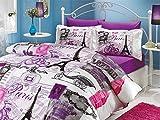 6 Pieces - Paris Viaje Love Eiffel Tower Print Theme Cotton Bedding Duvet Cover Sets Bed, Purple, White, Lilac (Queen)