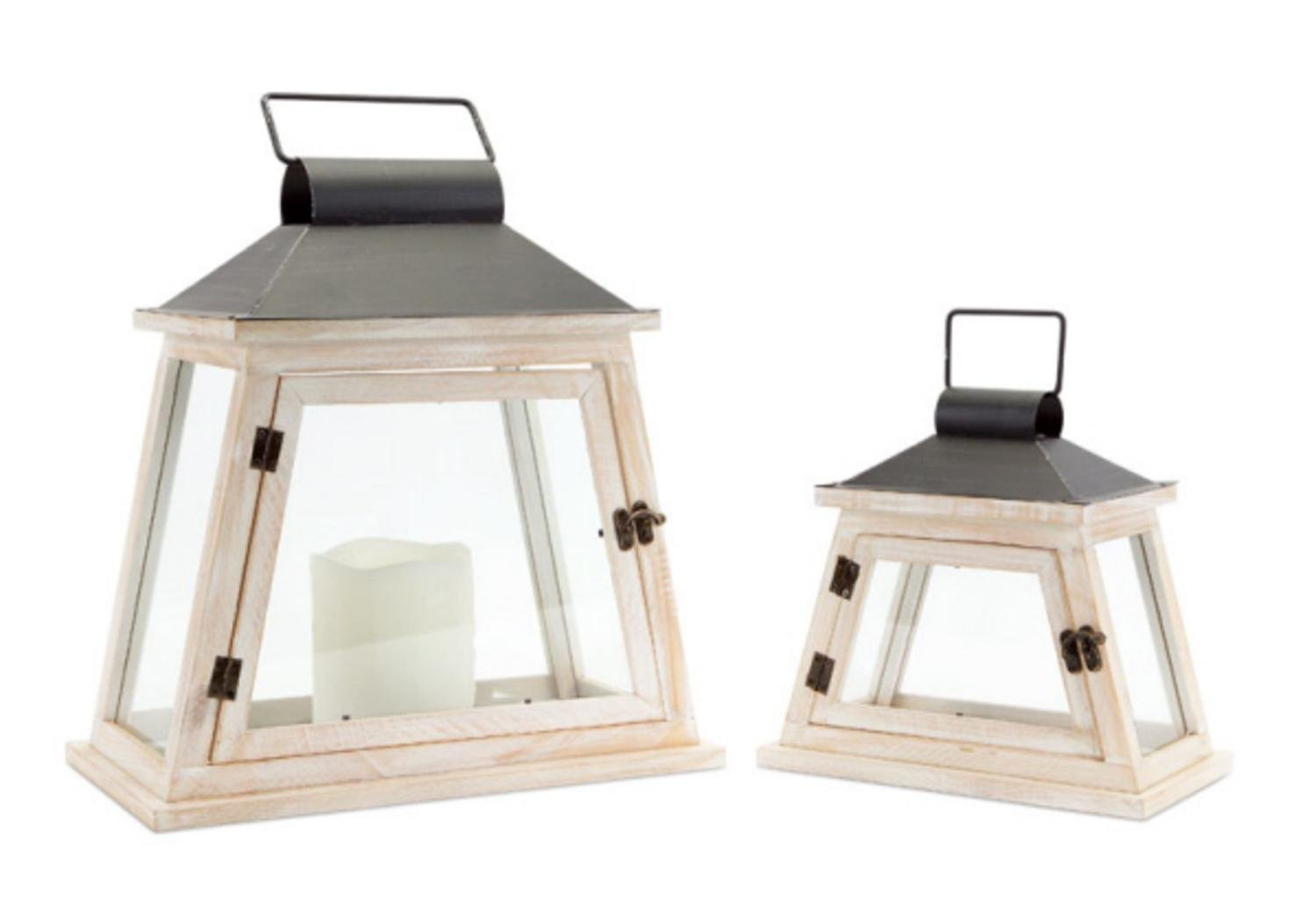 Set of 2 Cottage-Style Distressed White and Black Pillar Candle Lanterns