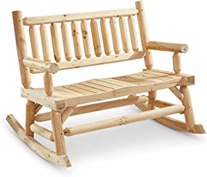 CASTLECREEK Double Outdoor Rocking Chair for Patio, Wooden Front Porch Bench Two Seat