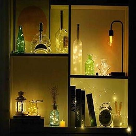 Ankamal Elec Bottle Light Botellas de Vino Luces de 12 Piezas Botella de Corcho Mini String Light Bottle Lighting Batería de 100cm 20Leds Alambre de Cobre ...