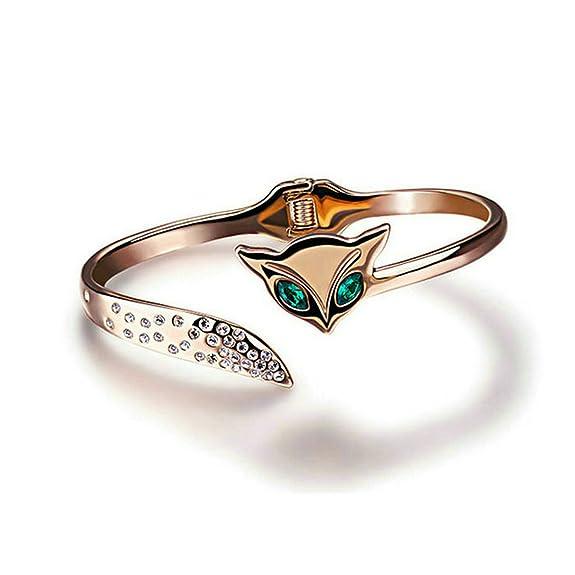 12 opinioni per Yoursfs 18k oro rosa placcato gioielli bella Fox cristallo verde occhi Bangle