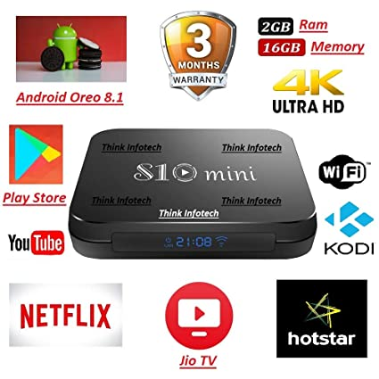 Think Infotech X96 MAX Android 8 1, 4GB 32GB Android TV Box Supports Prime  Video, JIO TV and HotStar Apps, Amlogic S905X2 UHD 4K 1080P USB 3 0 Smart