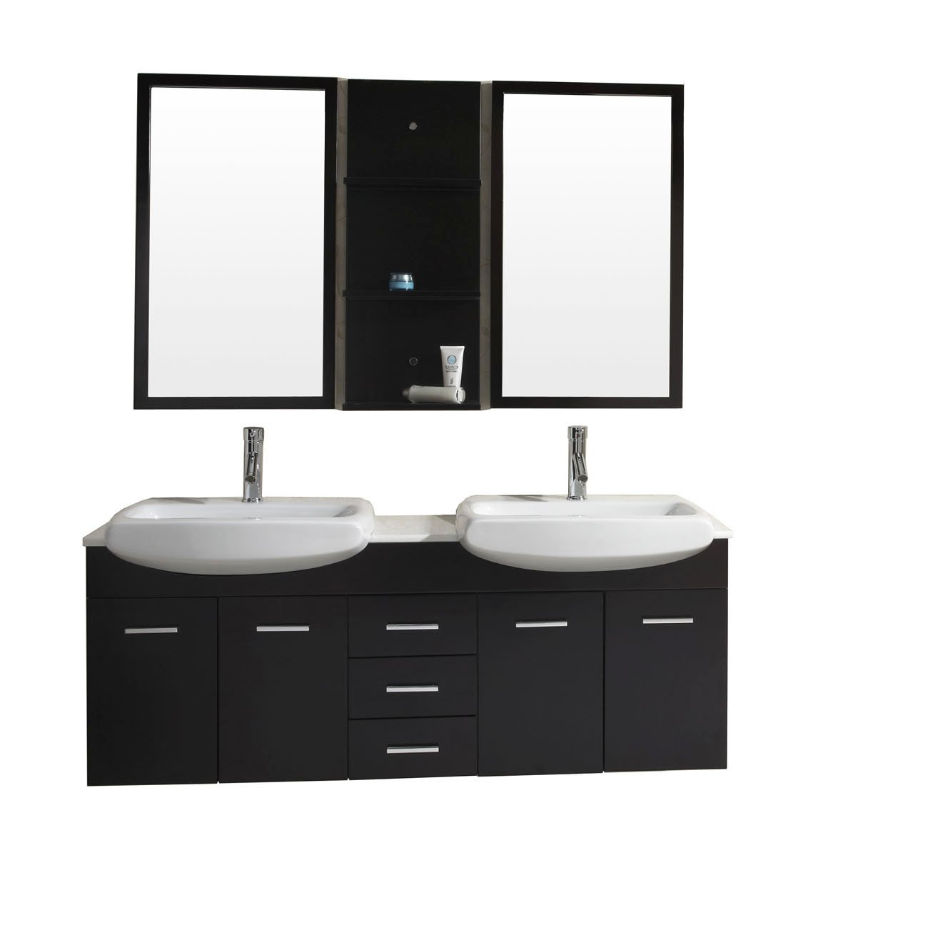 Delightful 59 Inch Double Vanity Part - 14: Virtu USA UM-3059-S-ES Ophelia 59-Inch Wall-Mounted Double Sink Bathroom  Vanity Set With White Stone Countertop, Espresso Finish - Girls Base Layer  ...