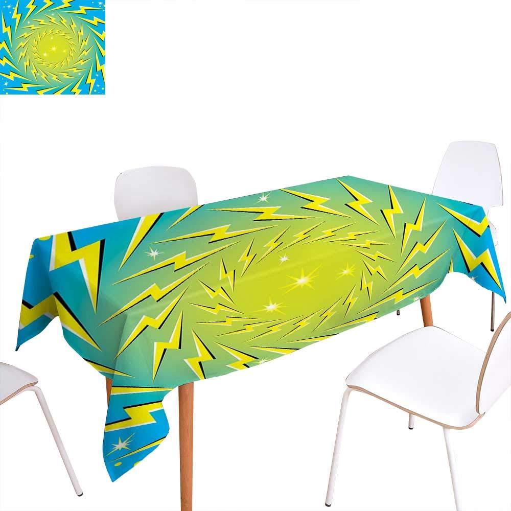 黄色と青のダイニングテーブルトップデコレーションメドウアートパターン てんとう鳥とカモミールデイジーブロッサムテーブルカバー キッチン アクア ホワイトマリゴールド用 W60