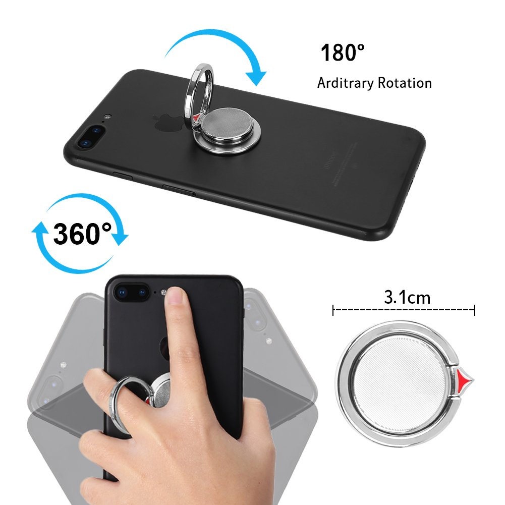 【Gift Ideas】2 in 1 Phone Ring Holder Stand, Casegory Stylish Finger iPhone Ring 360° Zinc Alloy Cell Phone Grip For iPhone X / 8 / 7 / 6 / 5 Samsung Galaxy S8 Ipad Smartphone Tablet (Silver)