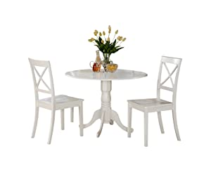 East West Furniture DLBO3-WHI-W 3 Pc Small Kitchen Table and 2 Dining Chairs, 3 Pieces Linen White Finish