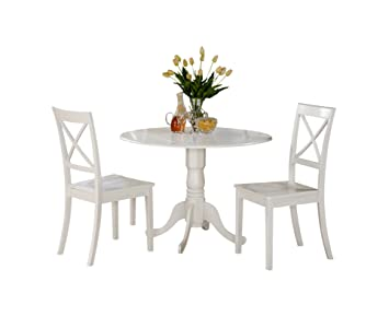 Amazon.com: East West Furniture DLBO3-WHI-W - Juego de mesa ...