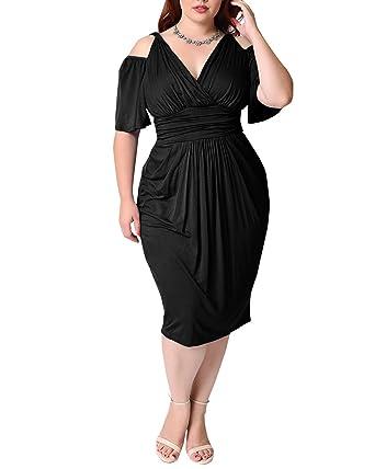 BIUBIU Women Plus Size V Neck Cold Shoulder Bodycon Party Cocktail Midi Dress Black UK 14