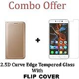 Lenovo Vibe K5 Flip Cover + Tempered Glass [Combo Pack]