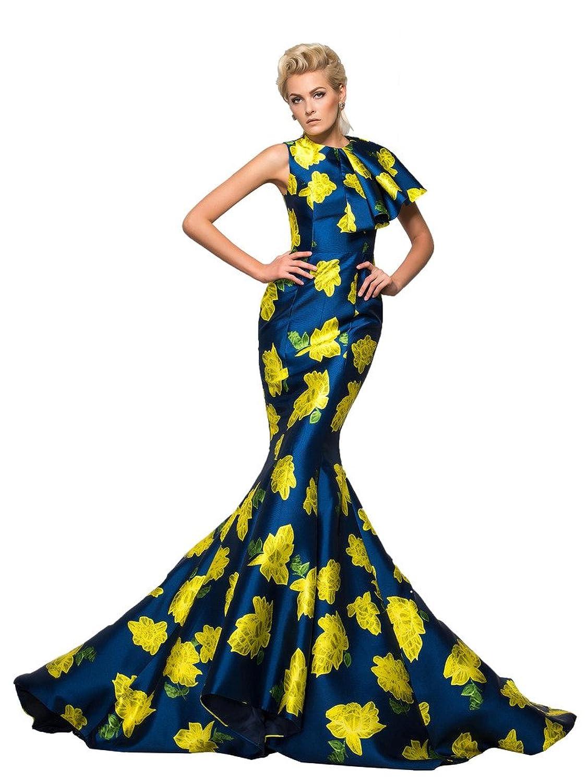 Amazon.com: CLOCOLOR Women\'s Designer Gown Mermaid Floral Print Long ...