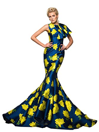 CLOCOLOR Womens Designer Gown Mermaid Floral Print Long Evening Dresses Size 2 Print