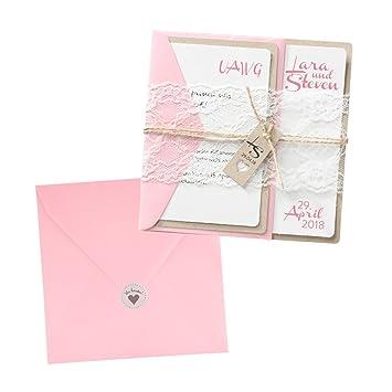 Vintage Einladungskarten Jenny Zur Hochzeit Mit Spitze, 3 Stück Blanko  Hochzeitseinladungen Mit Rosa Umschlag,