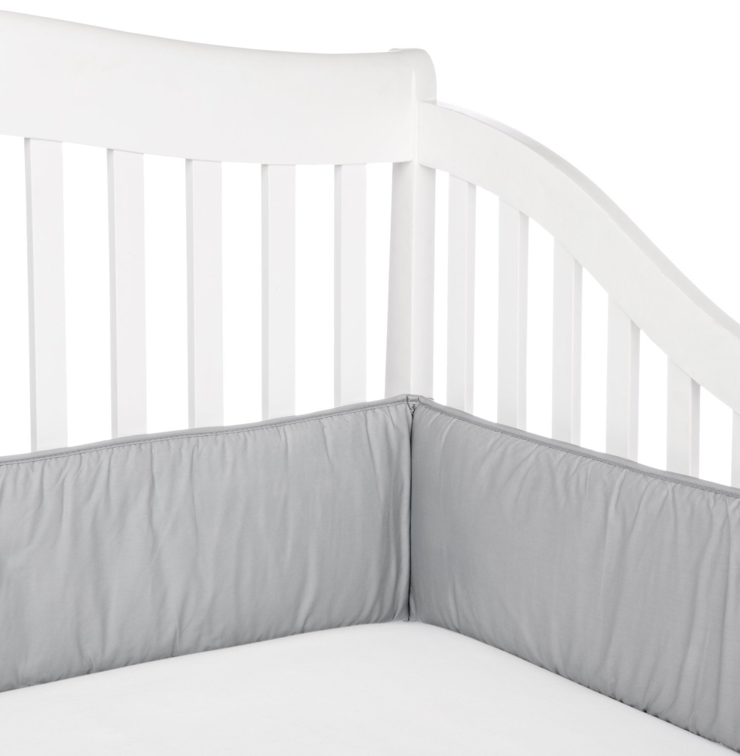 TL Care 100% Cotton Percale Crib Bumper, Gray