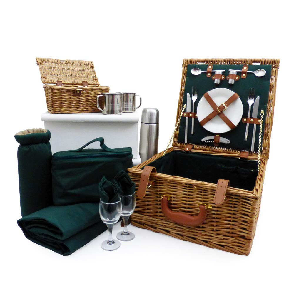The Ashby Picnic Basket Set - Luxury Wicker 2 Person Fitted Hamper with Accessories, Traditional Green Picnic Blanket, Green Chiller Bag, Stainless Steel Flask