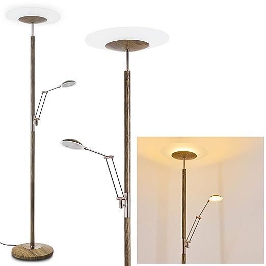 LED Lámpara de pie ligona de metal níquel mate/Aspecto de ...