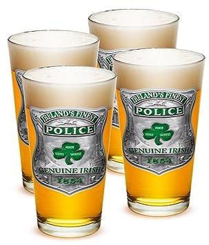 Vasos de pinta - oficial de policía Regalos para hombres o mujeres - Aplicación de la ley cerveza cristal - Garda Irelands mejor cerveza cristal con ...