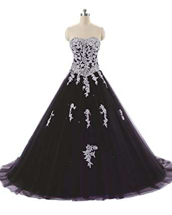51e9704b95534 APXPF Women s Full Length Lace Tulle Formal Prom Dress Quinceanera Dress  Ball Gown Black US2