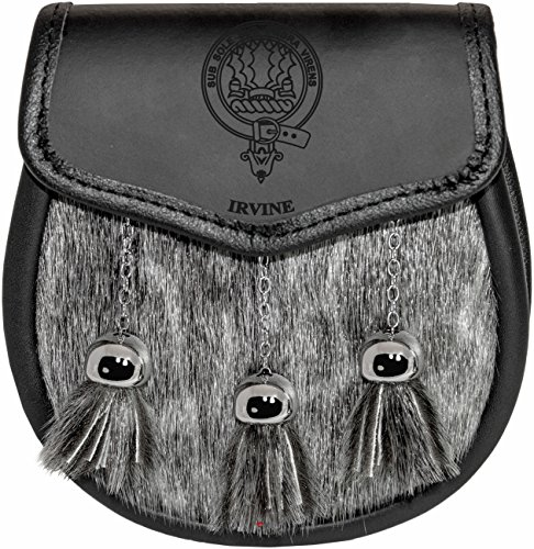 Irvine Semi Dress Sporran Fur Plain Leather Flap Scottish Clan Crest