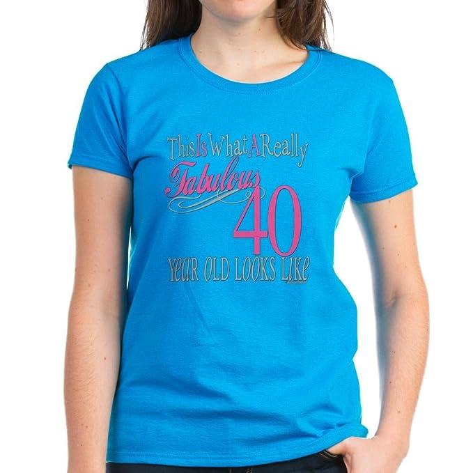 abd5df95d5d CafePress - 40Th Birthday Gifts - Womens Cotton T-Shirt Caribbean Blue