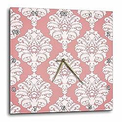 3dRose DPP_65770_1 Pretty Pink Large Damask Pattern-Wall Clock, 10 by 10-Inch