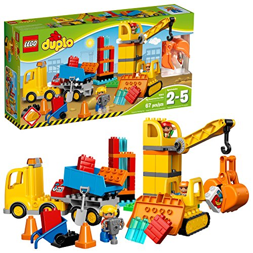 LEGO Duplo Big Construction Site 10813 Toddler Construction Toy Set with Toy Dump Truck, Crane and Bulldozer (67 Pieces) (Lego Bulldozer)