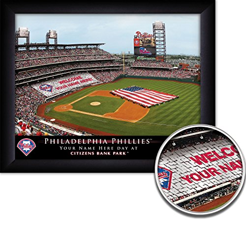 (Philadelphia Phillies Personalized MLB Card Stunt Baseball Stadium with American Flag Framed Print 13x16 Inches)