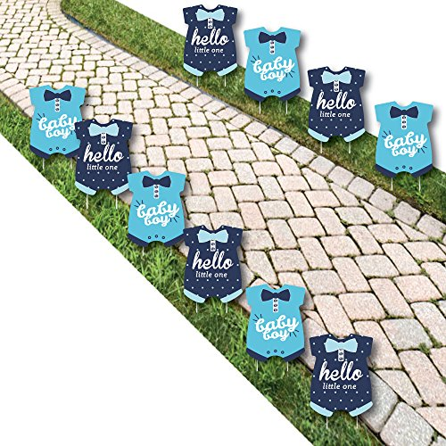 Hello Little One - Blue and Navy - Baby Bodysuit Lawn Decorations - Outdoor Boy Baby Shower Yard Decorations - 10 Piece -