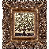 overstockArt Klimt Tree of Life Oil Painting with Burgeon Gold Frame, Organic Pattern Façade, Gold Finish
