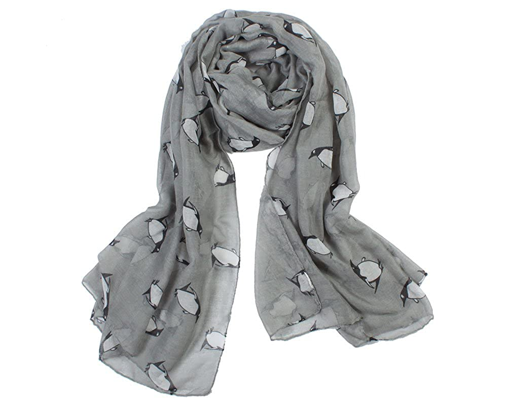 Grey Unusual Cute Penguin Print Lightweight Scarf Molly Louise