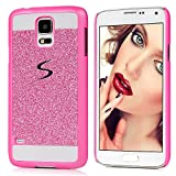Galaxy S5 i9600 Case - MOLLYCOOCLE Bling Sparkle Glitter PU Leather Scratch Resistant Shockproof Protection PC Shell Hard Hybrid Ultra Slim Fit Cover for Samsung Galaxy S5 i9600 -Hot Pink