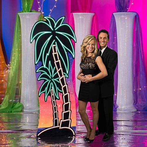 - 7 ft. 1 in. Neon Palm Tree Tropical Luau Summer Standee Standup Photo Booth Prop Background Backdrop Party Decoration Decor Scene Setter Cardboard Cutout