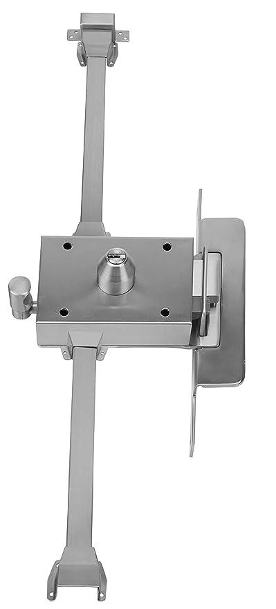 Inceca 3721205 - Cerradura de sobreponer, 3 puntos, golpe y llave, doble cilindro